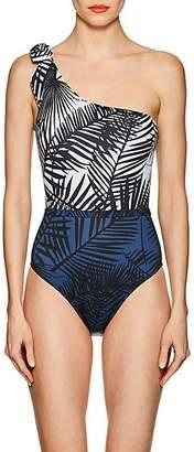 Fleur Du Mal Women's Palm-Tree-Print One-Shoulder One-Piece Swimsuit - Ivory Palm