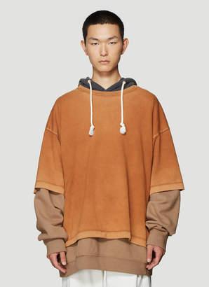 Maison Margiela Oversized Hooded Sweatshirt in Orange