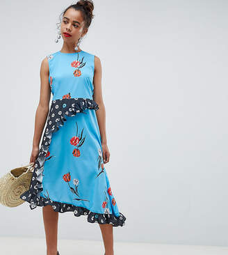 Asos DESIGN Petite Sleeveless Midi Dress in Mix and Match Floral Print