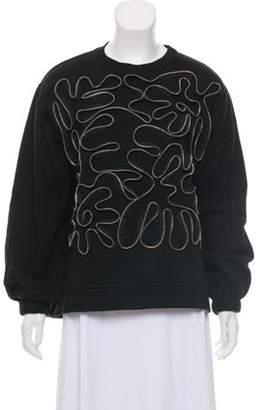 Stella McCartney Zipper-Accented Crew Neck Sweatshirt Black Zipper-Accented Crew Neck Sweatshirt