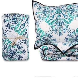 Mirabelle California Design Den by NMK King Handcrafted Cotton Quilt Set - Teal