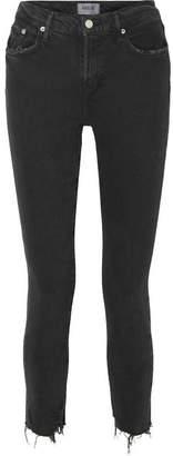 A Gold E Agolde AGOLDE - Toni Distressed Mid-rise Skinny Jeans - Black