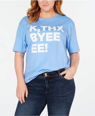 Hybrid Plus Size Cotton Thx Bye Graphic T-Shirt