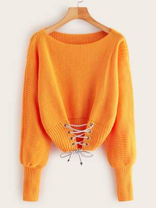Shein Neon Orange Lace Up Front Sweater