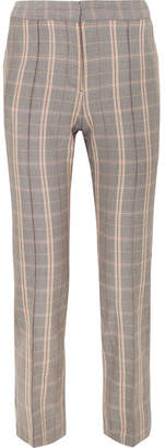 Maje Checked Twill Tapered Pants - Gray