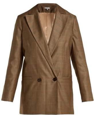 Ganni Merkel Checked Silk And Wool Blend Blazer - Womens - Brown