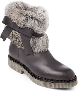 Elena Grey Fur-Trimmed Leather Boots