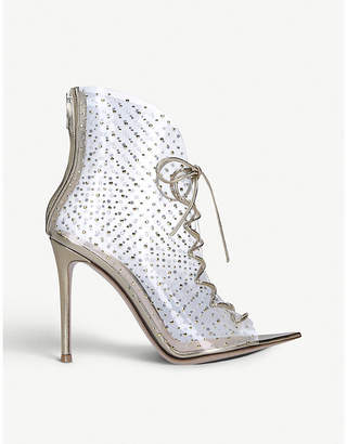 Gianvito Rossi Elly 105 patent-leather and crystal-embellished PVC ankle boots