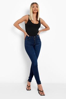 boohoo High Rise 5 Pocket Skinny Jeans
