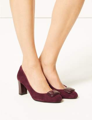 Marks and Spencer Suede Wide Fit Block Heel Court Shoes