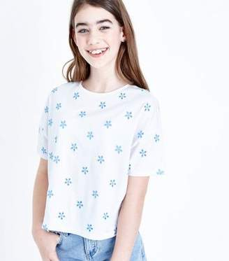 New Look Teens Blue Floral Embroidered T-Shirt