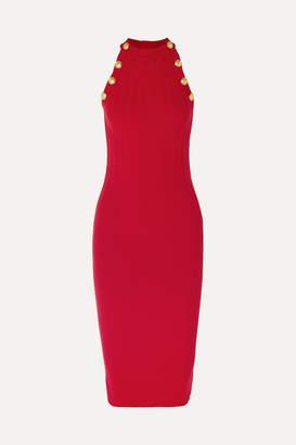 Balmain Ribbed Wool-blend Midi Dress - Red