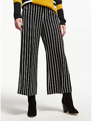 Marella Nocher Stripe Wide Leg Trousers, Black/White