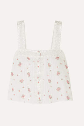 LoveShackFancy Daisy Crochet-trimmed Floral-print Swiss-dot Cotton-gauze Top - Ivory