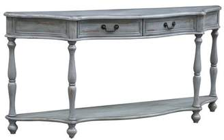 Cambridge Silversmiths Crestview Collection Turned Leg Distressed Grey 2 Drawer Shaped Console