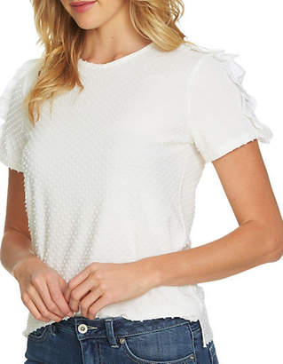 CeCe Mixed Media Clipped Knit Top
