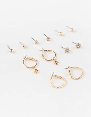 Full Tilt 6 Pairs Flower Stud & Mini Hoop Earrings