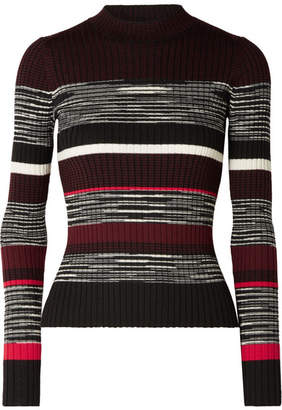 Proenza Schouler Ribbed Striped Wool, Silk And Cashmere-blend Sweater - Black