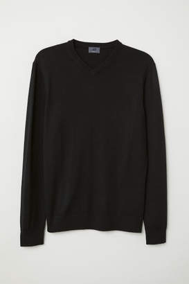 H&M V-neck Merino Wool Sweater - Black