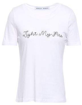 Rebecca Minkoff Embroidered Cotton And Modal-blend Jersey T-shirt