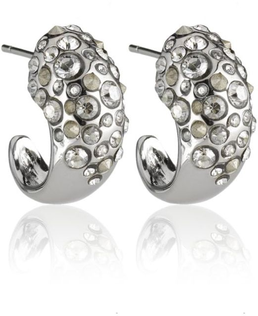 Alexis Bittar Crystal Encrusted Rhodium Extra Small Hoop Earrings