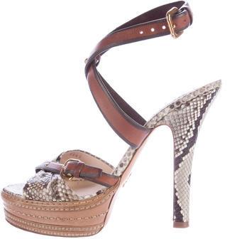 pradaPrada Python Platform Sandals
