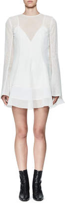 Olivier Theyskens Tentel Long-Sleeve Organza Dress, White