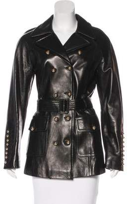 Gianfranco Ferre Leather Double-Breasted Coat