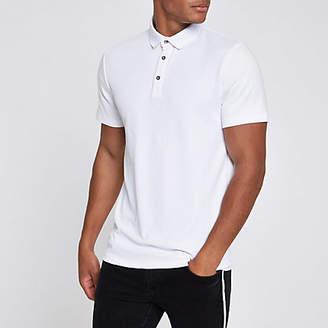 River Island Mens White slim fit polo shirt
