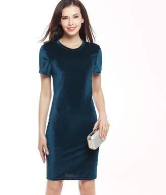Yang Yao Summer New Swan Gold Velvet Round Neck Short Sleeve Dress Pencil Skirt