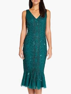 Adrianna Papell Beaded Sequin Midi Dress, Dark Green