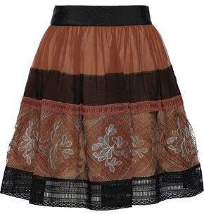 Alberta Ferretti Silk-georgette And Guipure Lace Mini Skirt