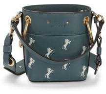 Chloé Small Little Horses Embroidered Leather Bucket Bag