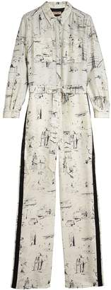 Burberry Landmark Print Silk Jumpsuit