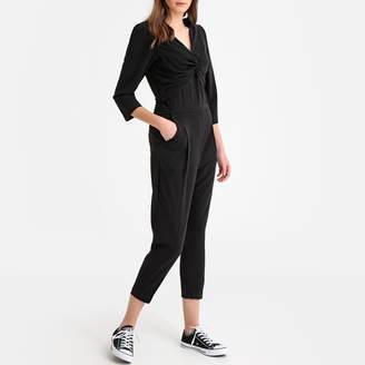 Suncoo Draped Effect V-Neck Jumpsuit with 3/4 Length Sleeves