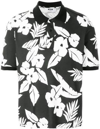 MSGM floral print polo shirt