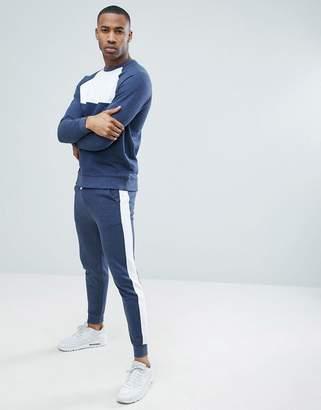 Asos DESIGN Tracksuit Sweatshirt/Skinny Joggers In Denim Marl With Side Stripe