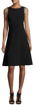 Trina Turk Sleeveless Embellished Classic Crepe A-Line Dress, Black $348 thestylecure.com