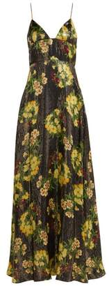 Adriana Iglesias Liz Floral Print Silk Blend Gown - Womens - Black Yellow
