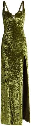 GALVAN Corset hammered velvet gown