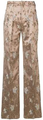Pt01 embroidered floral trousers