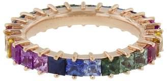 Suzanne Kalan Princess Cut Rainbow Sapphire and Diamond Eternity Ring