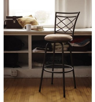 Roundhill Furniture Roundhill Halfy Round Seat Bar/Counter Height Adjustable Metal Brown Bar Stool