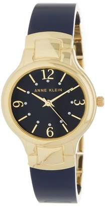 Anne Klein Women's Gold-Tone Round Case Bangle Watch, 30mm