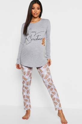 boohoo Maternity Christmas Gingerbread Man PJ Set