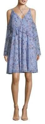 Sam Edelman Cold-Shoulder Bell-Sleeve Ruffle Dress
