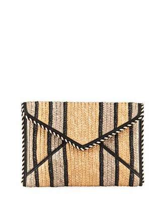 Rebecca Minkoff Leo Striped Straw Clutch Bag