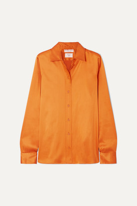 Bottega Veneta Metallic Silk-charmeuse Shirt - Copper