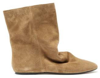 Isabel Marant Rullee Slouched Suede Ankle Boots - Womens - Khaki