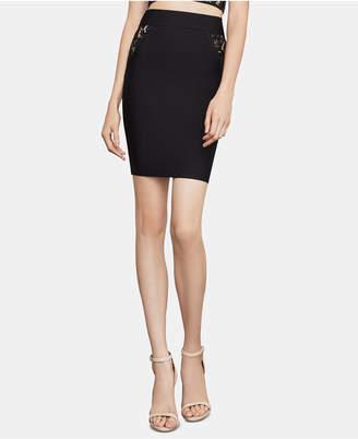 BCBGMAXAZRIA Lace-Inset Pencil Skirt